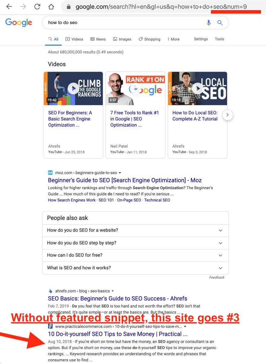 URL Parameter Hack to Show the Real Rank of a Featured Snippets Result