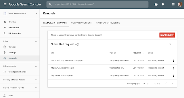 Search Console now has a Removals Report