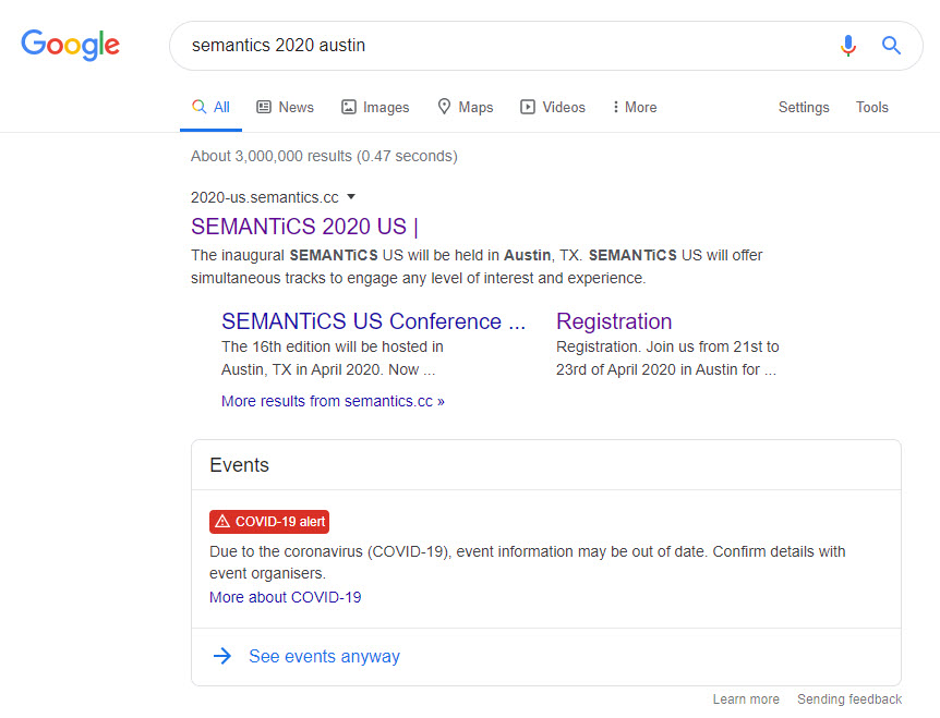 Events Get a COVID-19 Warning on SERPs and on Dedicated Event Rich Results Pages