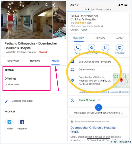 Get Online Care Links in Location Panel for Healthcare Businesses
