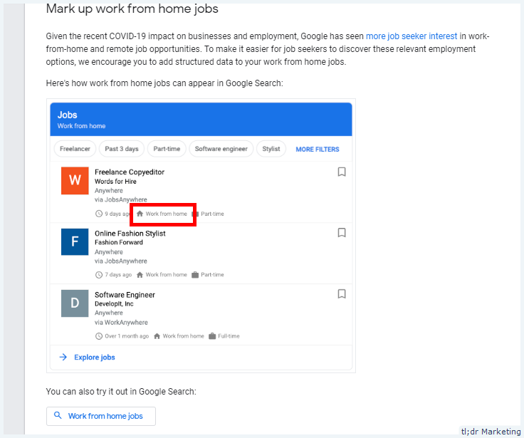 Google Updated Job Posting Structured Data Document to Highlight Work from Home Jobs