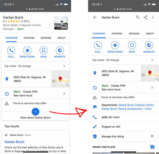 Google Starts to Display Nested Department in GMB Listings For Car Dealers