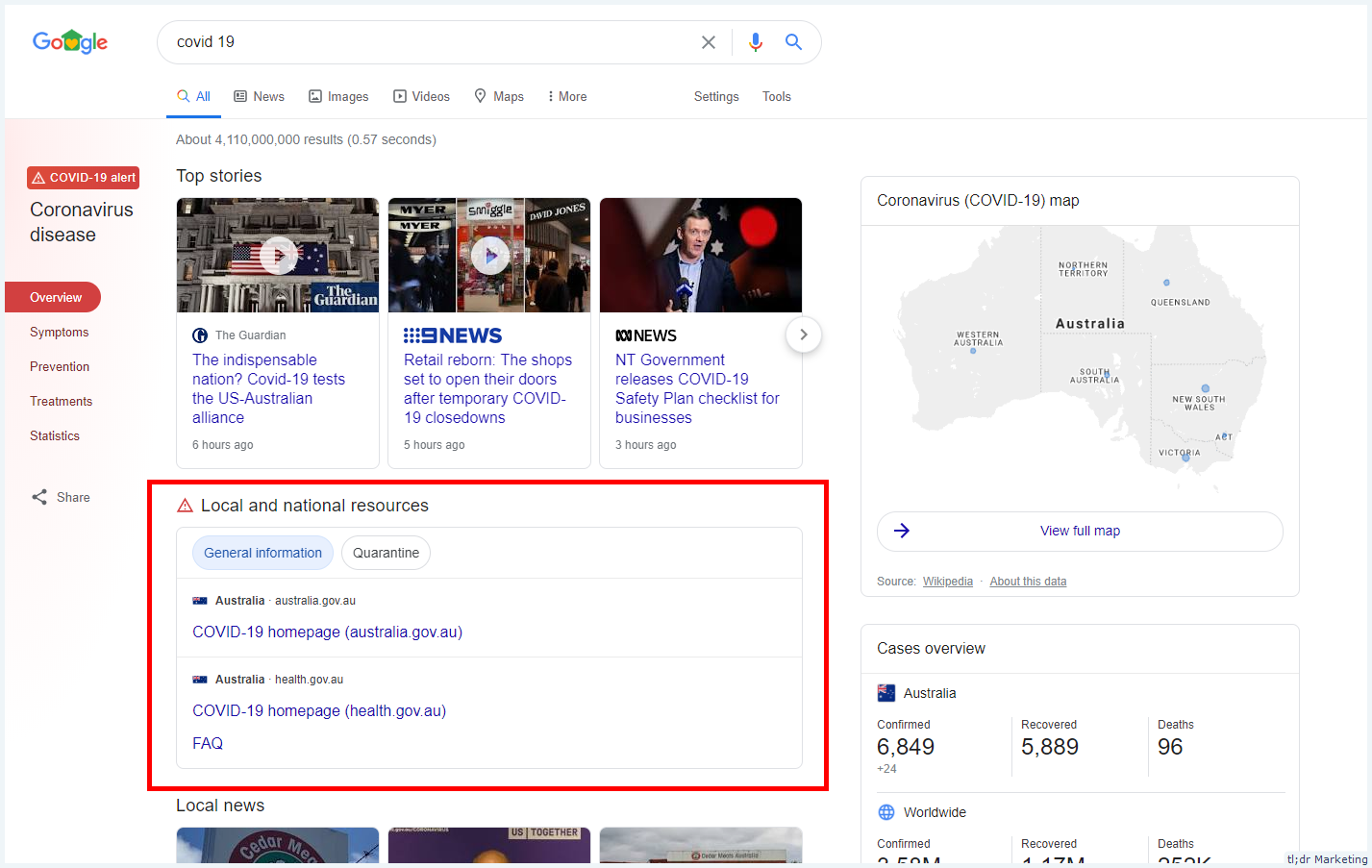 Google Adds a Local and National Resources SERP Feature for COVID-19 Searches