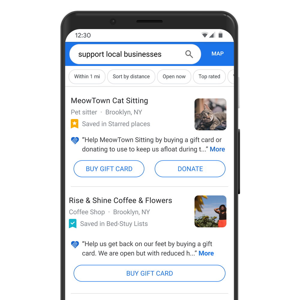 If You're in the U.S., the U.K. or Canada, You Can Search Support Local Businesses to Buy a Gift Card or Make a Donation from Maps