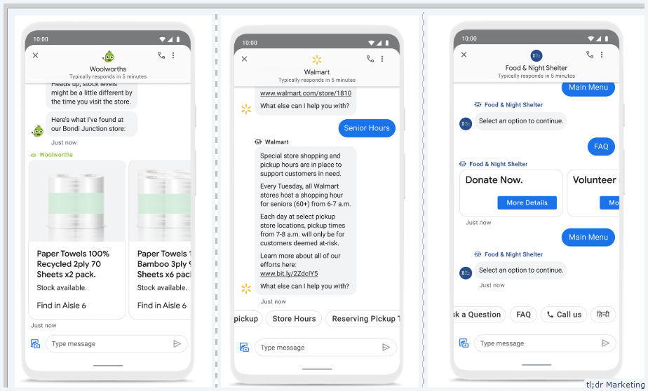 Business Messages in Maps and Search Launching New Smart Replies, Visual Product Carousels, and Unique Welcome Messages