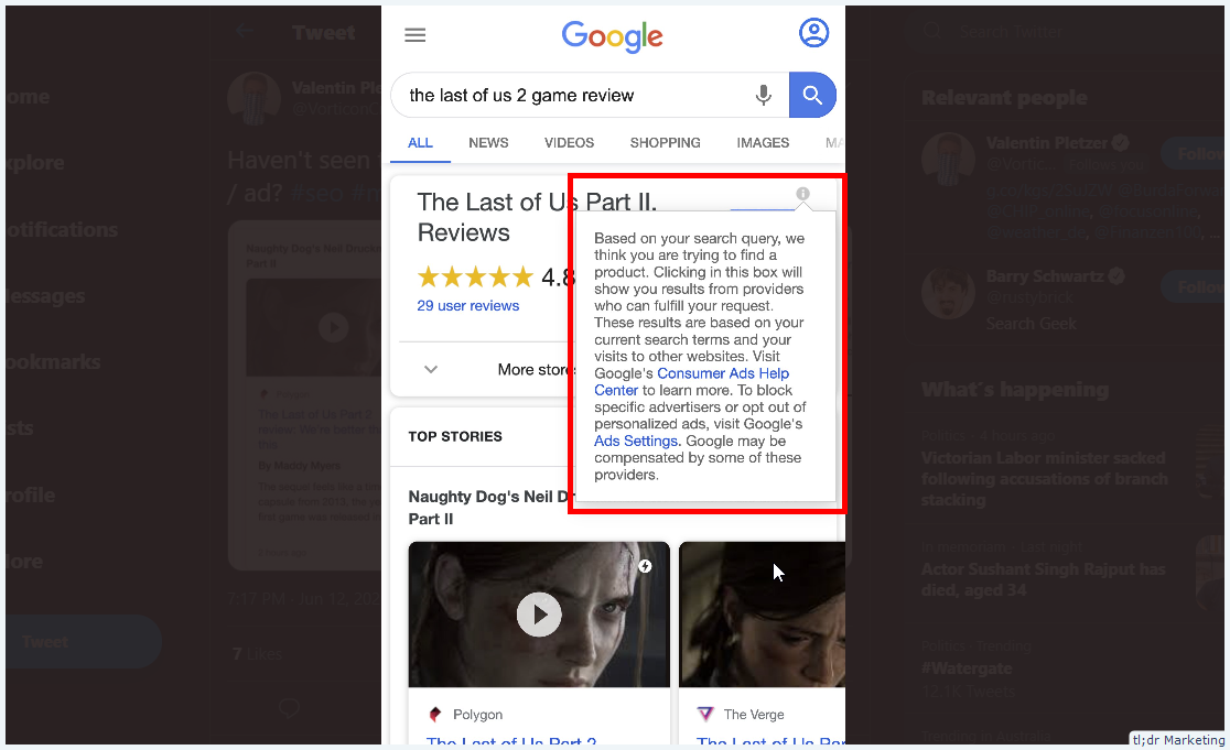 Google Testing Blended Organic and Ad Review Box