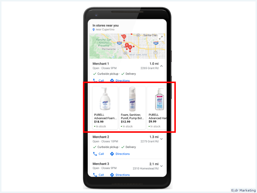 Blended Map Pack + Product Listing in Shopping Tab on Google