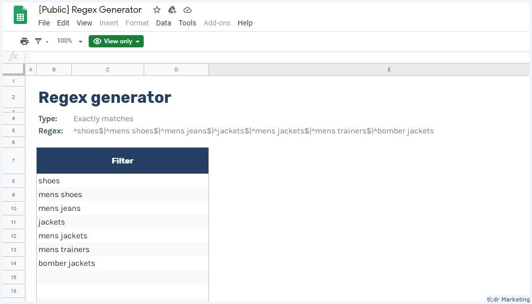 A Google Sheets REGEX Generator Tool