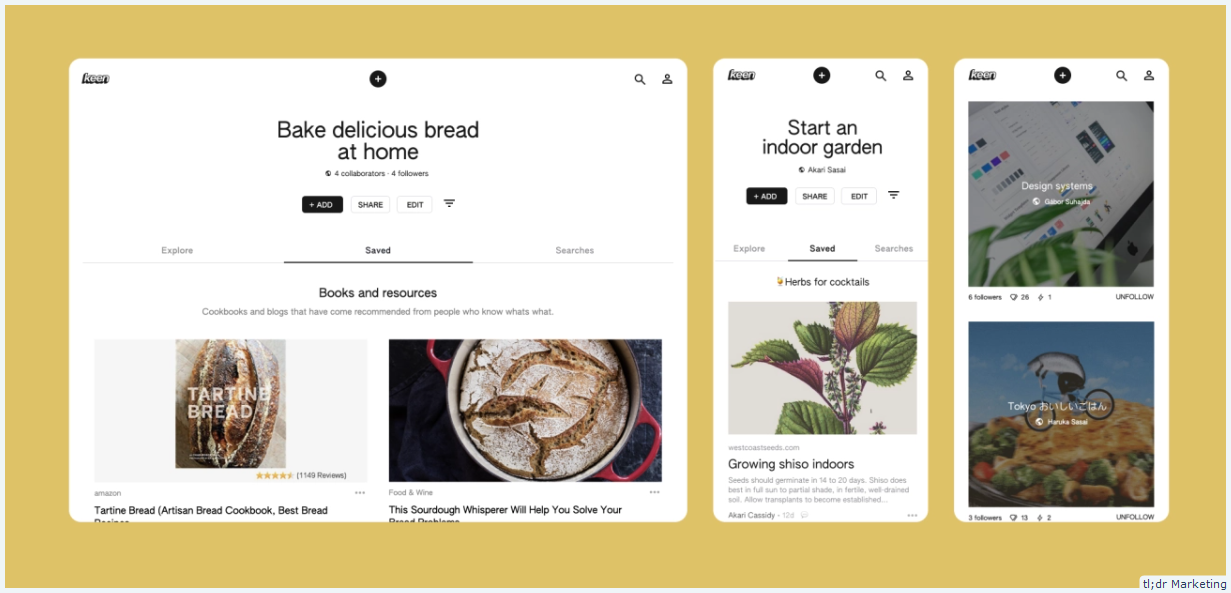 Google Keen is an automated machine-learning version of Pinterest