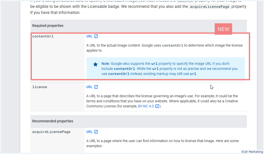 Google Updated Image License Schema to Include contentUrl as a Required Property
