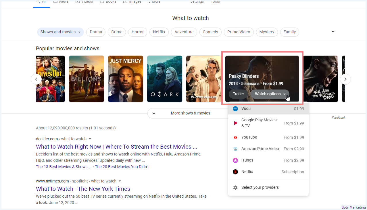 What To Watch Movie & TV SERP Feature Gets a New Design on Desktop
