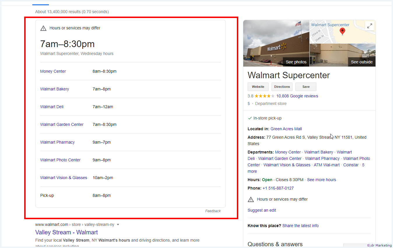 Department Hours Start of Appear As a Standalone Widget In SERP