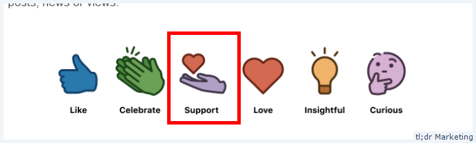 Linkedin Rolls out Support Reaction