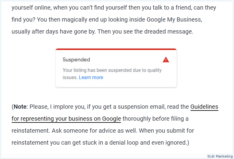 Google My Business Adds Email Notifications for Listing Suspended Due To Quality Issues