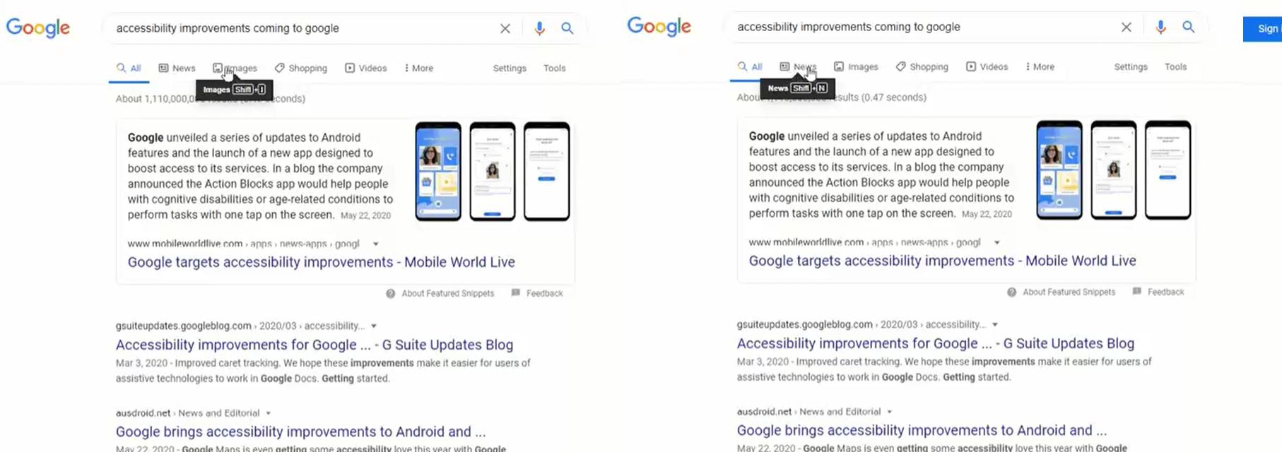 Google Tests Keyboard Shortcuts on SERPs
