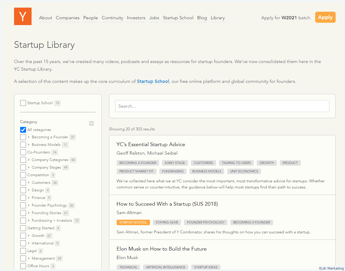 Y Combinator launches a Startup Library