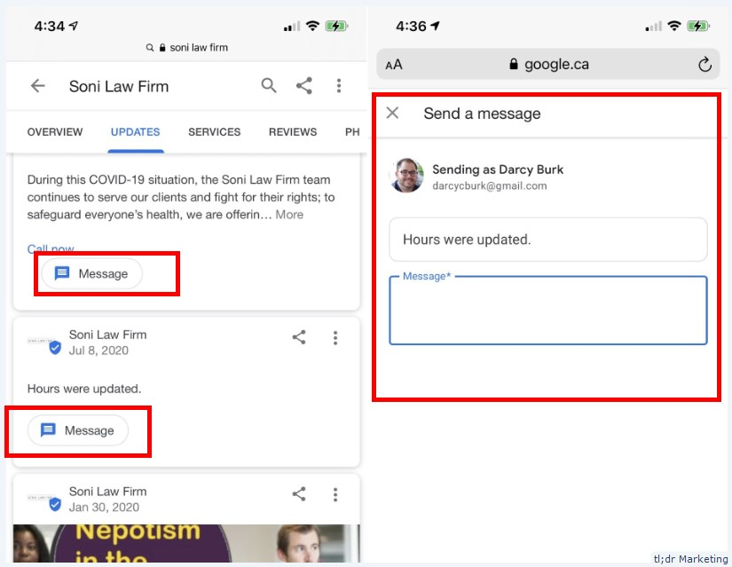 Google Tests Message Button in Each GMB Post