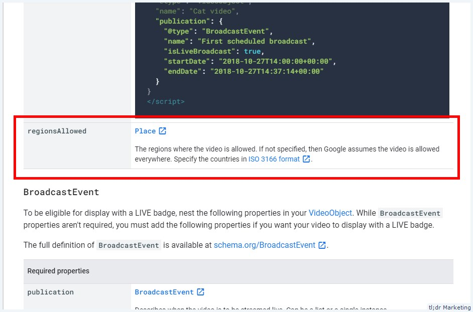 Google Added Support for regionsAllowed in Video Structured Data