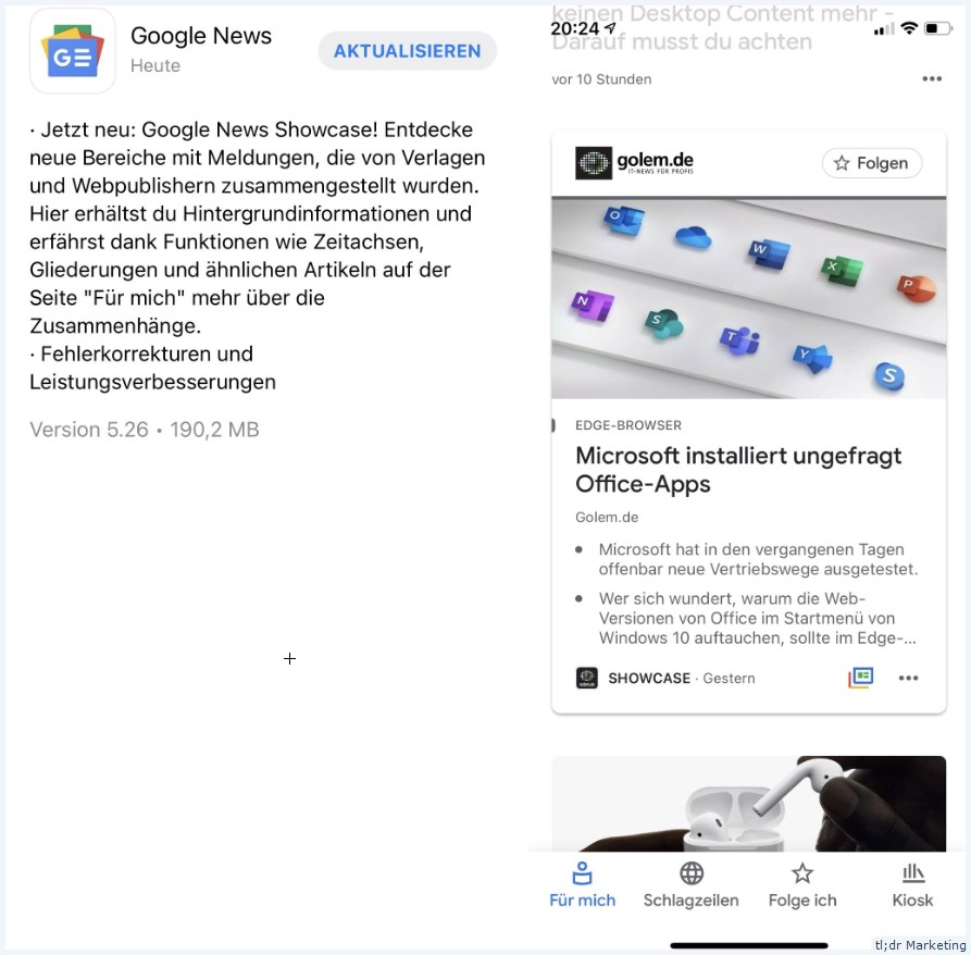 Google News iOS now with Showcase (in Germany)