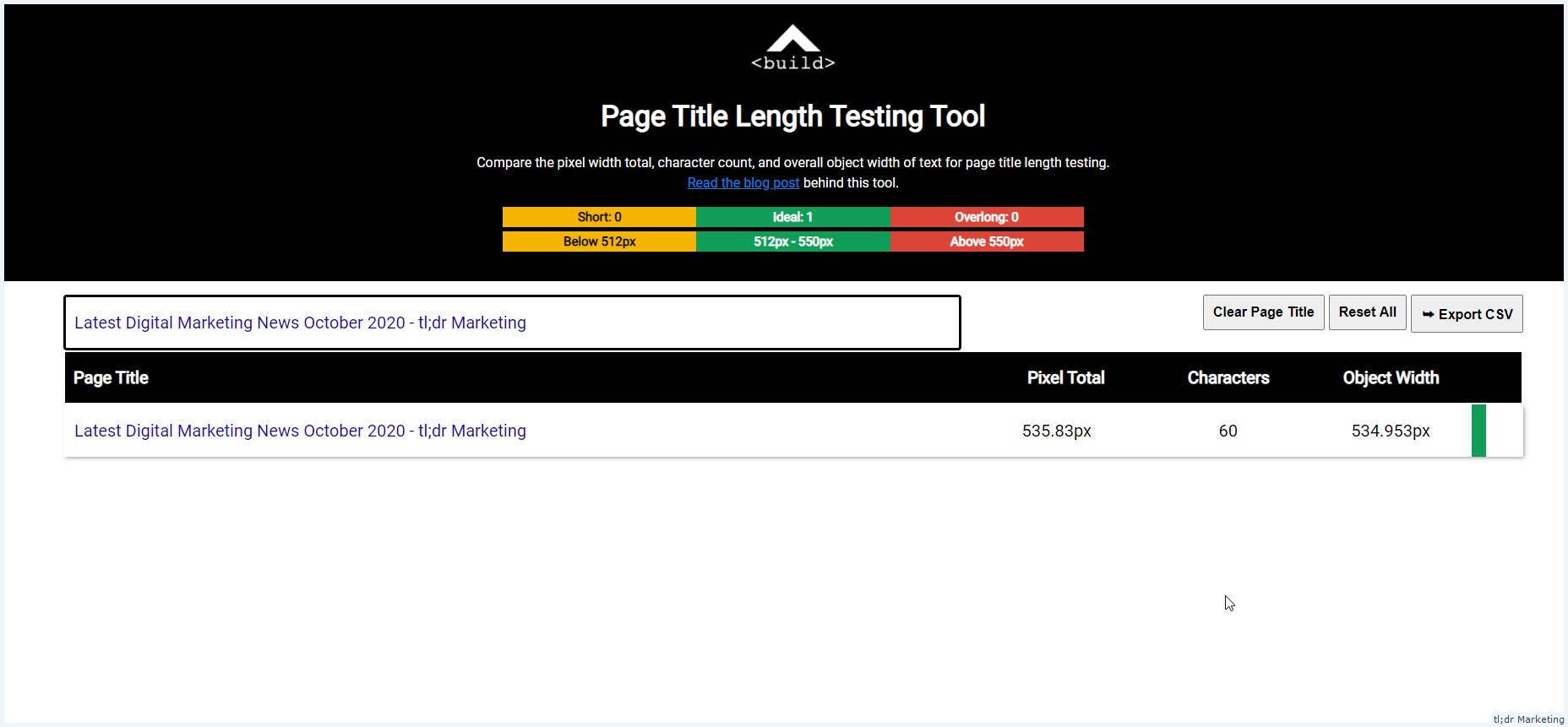 Page Title Length Testing Tool That Looks At Object Width