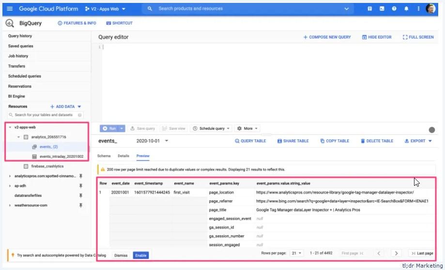 BigQuery Integration for Analytics App + Web Properties