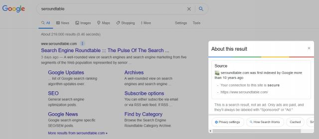 Google Tests About This Result SERP Feature