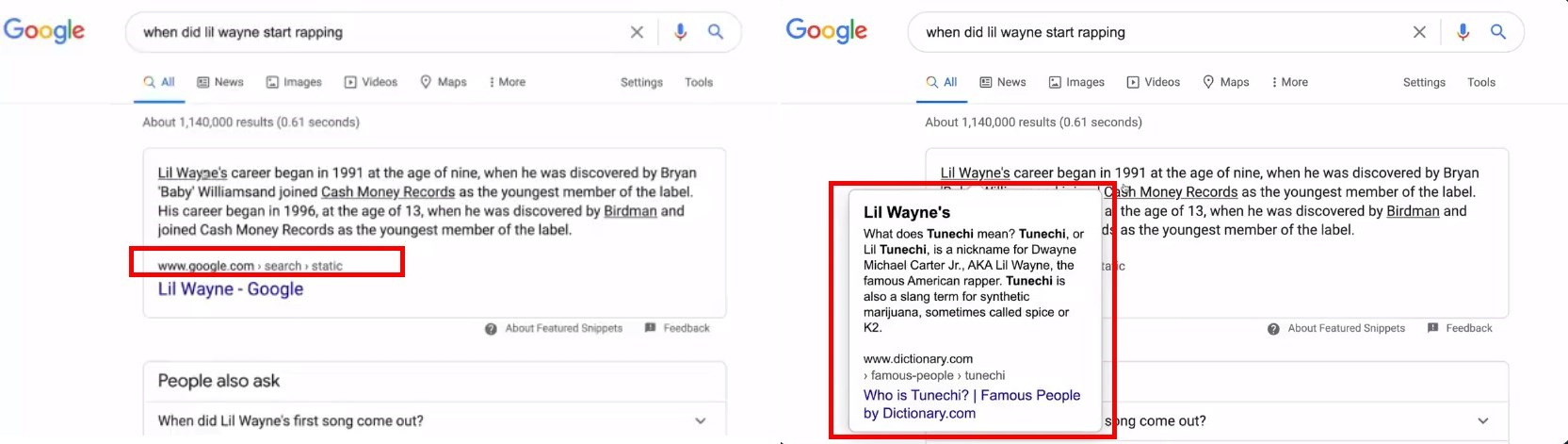 Google Tests Featured Snippet With Google Hosted Content With Publisher Info Hidden in Hover Over Modal Window
