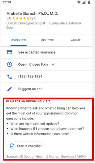 Google Launches Checklist in SERP and Maps to Help Plan Medical Visits U.S.A. Only