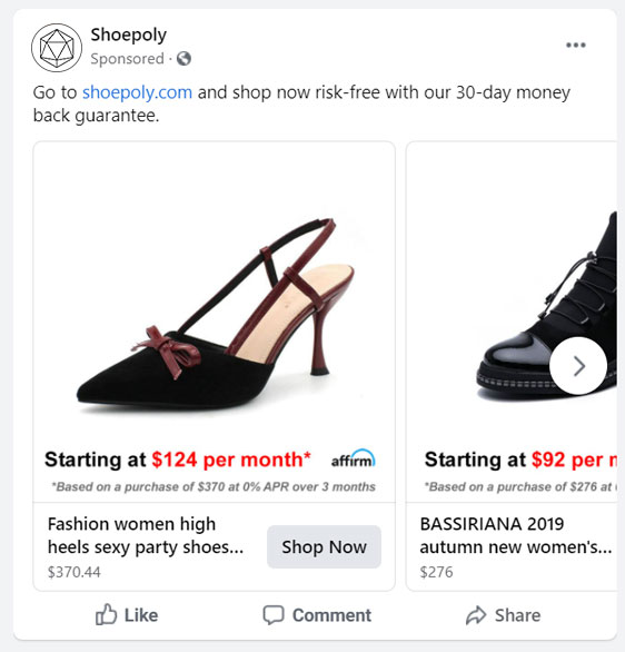 Facebook PPC Retargeting with Buy Now Pay Later prices   Water Bucket™