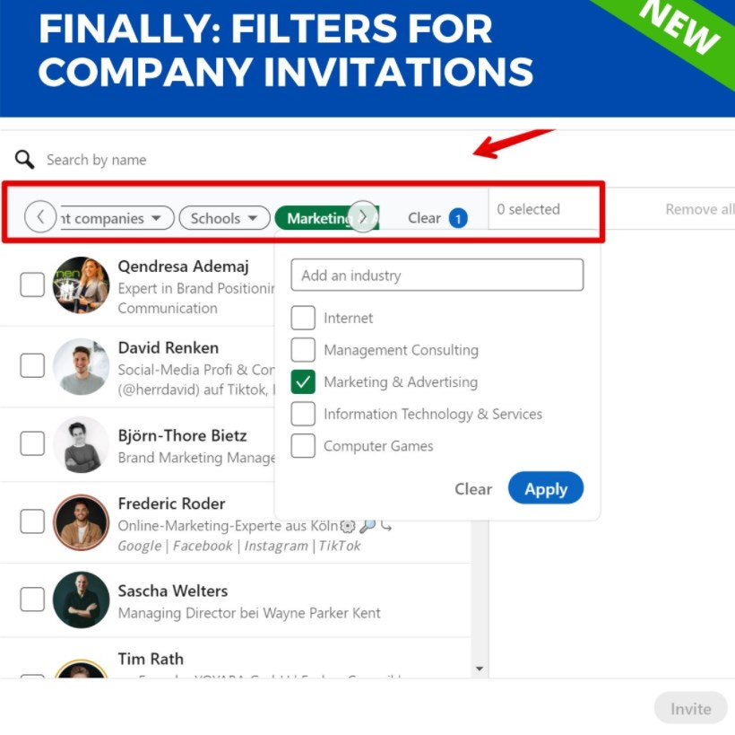 LinkedIn added filter for company invitations
