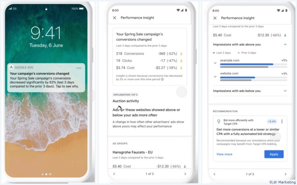 Google Ads Mobile App Gets Performance Insights Notifications