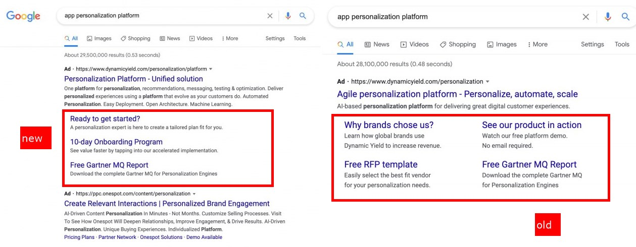 Google Ads Sitelinks Tests List Vertical Interface with 3 Links