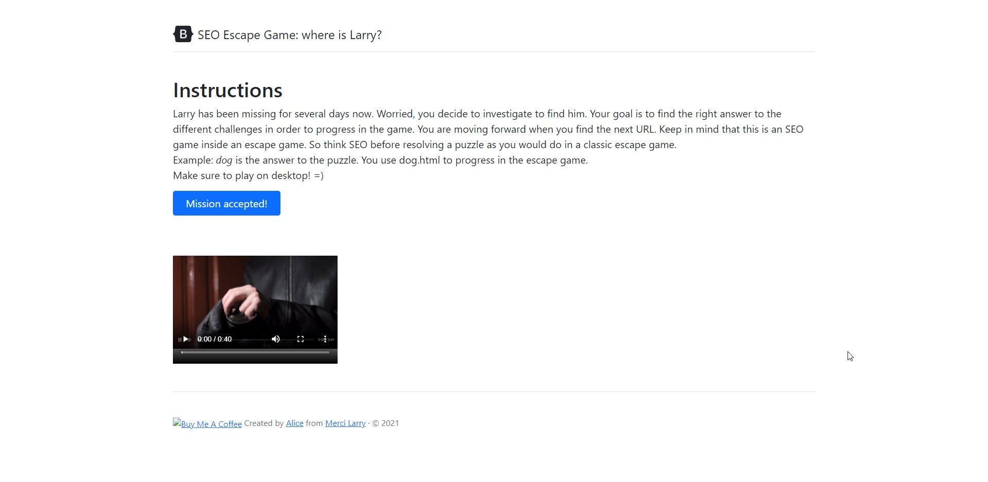 SEO Game : Where is Larry?