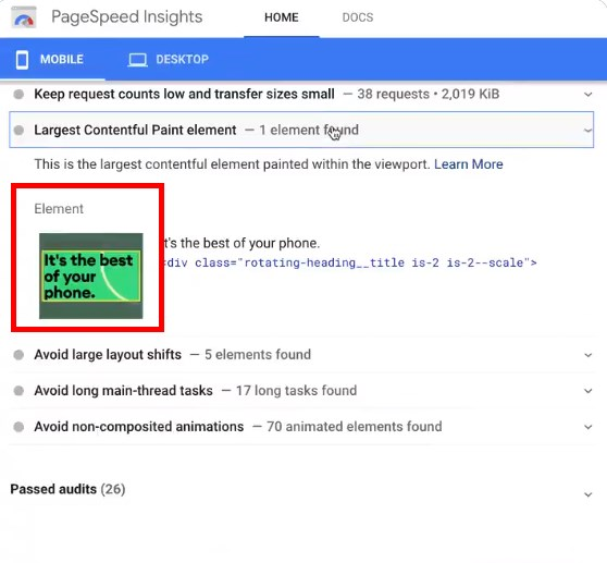 Pagespeed Insights Report Now Includes Screenshots Of The HTML Elements
