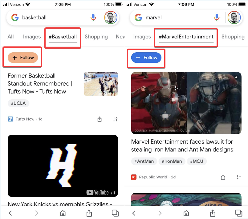 Google Tests a Follow Button and Hashtag Navigation in Discover