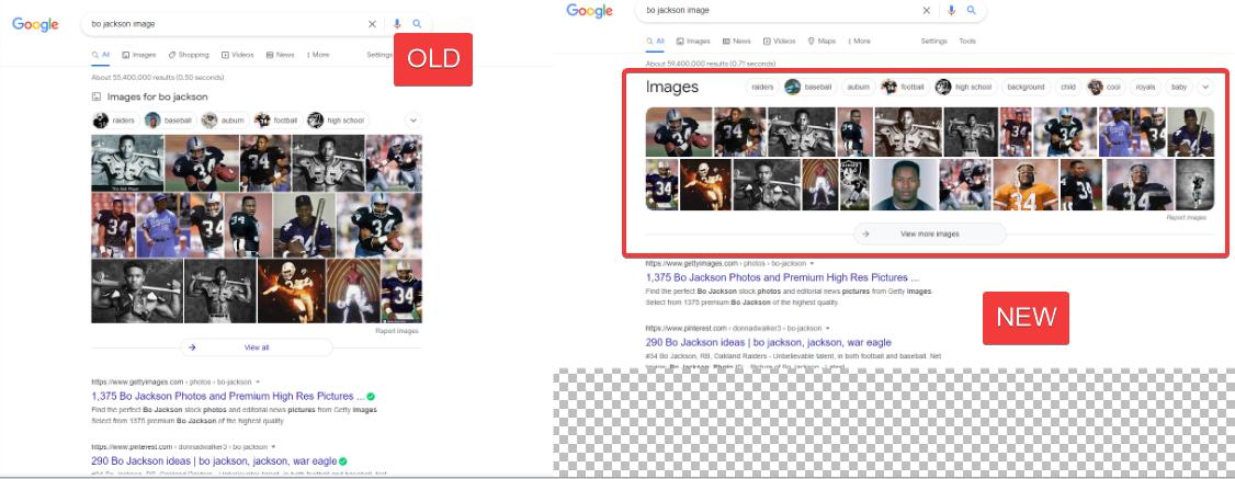 Google Tests Full Width Image Pack on Desktop SERPs