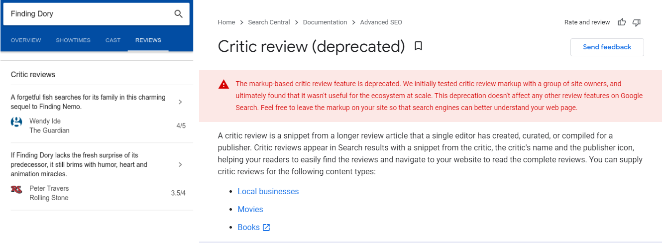 Google has Deprecated The Critic Review SERP Feature