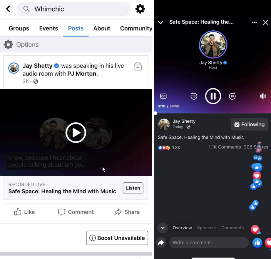 Facebook's Audio Rooms Now Let's You Replay Rooms If You Miss It Live