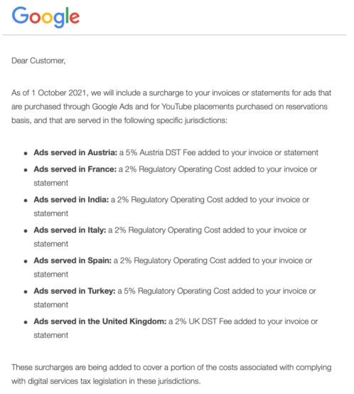 From 1st October 2021 Google Will Pass On 2% Regulatory Operating Cost For Ads Served In India And Italy