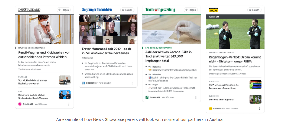 Google News Showcase Is Launching In Austria