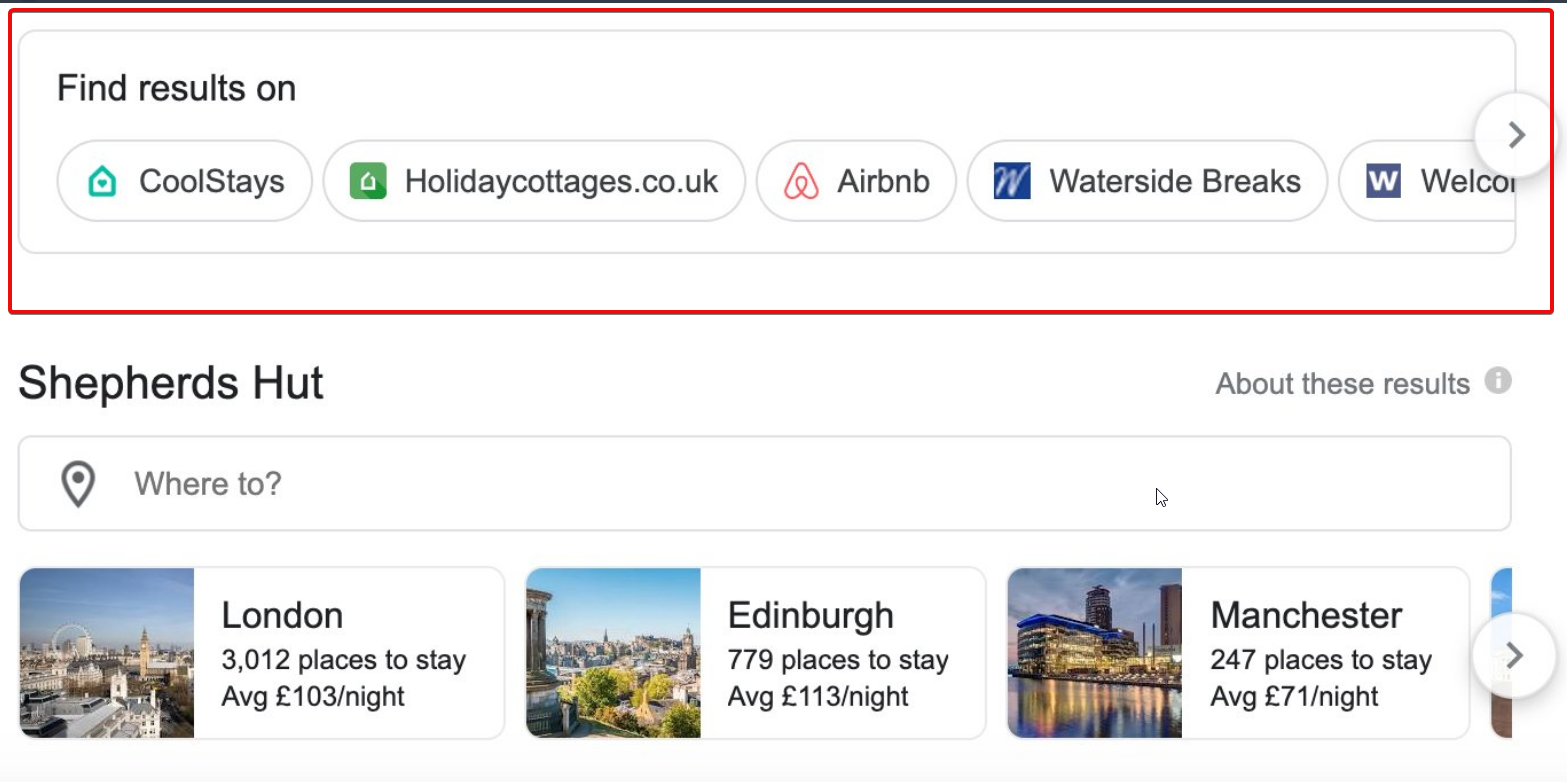Google Tests Find Results On Travel Searches