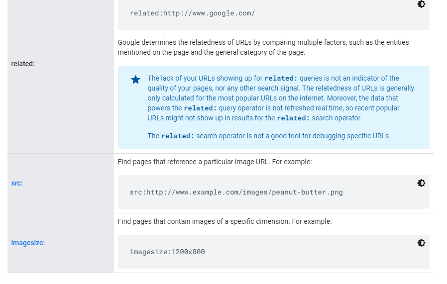 Google Publishes a Search Operator Help Document about src: and imagesize: