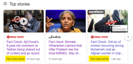 Google Top Stories Tests Fact Check Labels